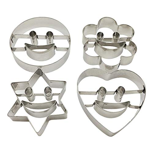 4 Pieces Flower Heart Smiling Face Cookie Cutter Set - Stainless - Cutters Personalized Cookie
