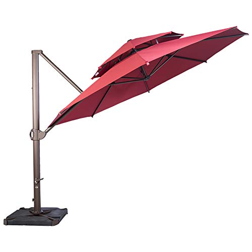 SORARA 11.5ft Cantilever Umbrella Offset Hanging Umbrella(Dual Vent) with CrossBase, Free 4 pcs Base Weight + Waterproof Cover, Jockey Red ()
