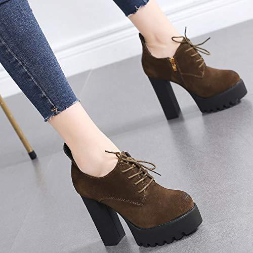 HRCxue Pumps Schuhe Frauen Nubukleder Damenschuhe mit High Heels Wasserdichte Plattform dick mit einzelnen Schuhen Frauen