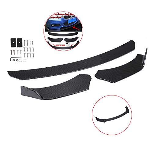 (Zeeos Universal Front Bumper Lip Chin Spoiler Carbon Fiber Look ABS Front Bumper Lip Sopiler Wing Body Fits For AUDI,Ford,BMW,HONDA,Chevrolet,Toyota,Civic,GTR,Car)