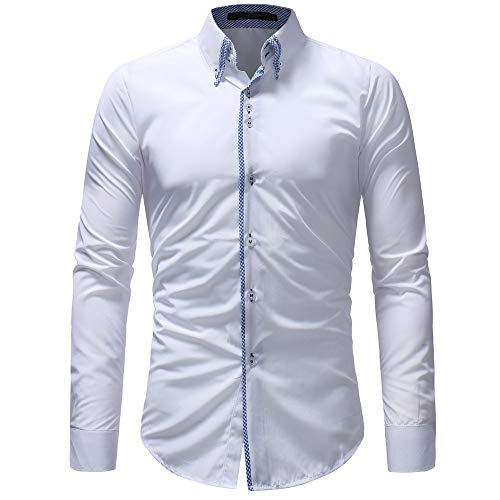 ZYEE Clearance Sale!Men's Button-Down Long Sleeve Autumn Casual Formal Slim Dress Shirt Top Blouse