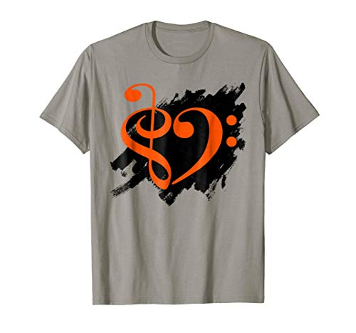Treble Clef Bass Clef Orange Heart Grunge Brush Strokes Music Lover Bassist T-Shirt