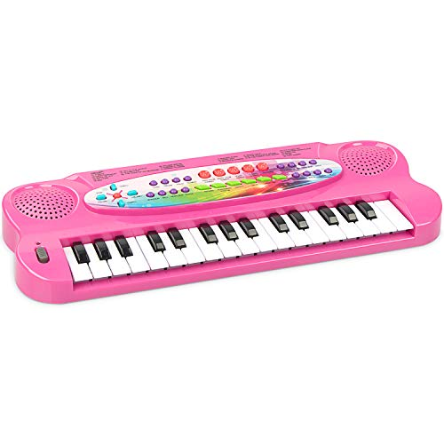 aPerfectLife Child Keyboard, 32 Keys Multifunction Electronic Kids Piano Keyboard Musial Instrument for Kids with Microphone (Pink)