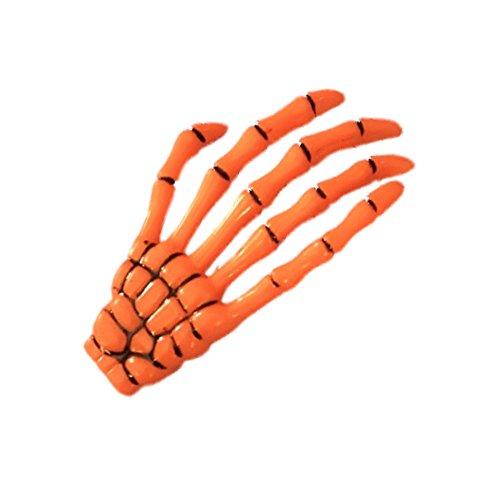 Orange Skeleton Hand Motif Halloween Hair Beak Clip Slide Rockabilly -