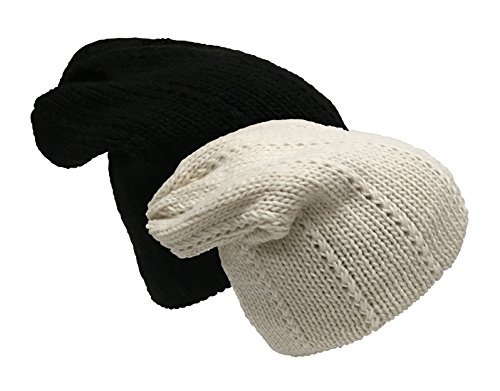 N'Ice Caps Women's 2 Ply Fully Lined Flat Knit Slouch Hat - 2 Piece Bundle Pack (One Size, Black/Winter White) - Fully Lined Winter Hat
