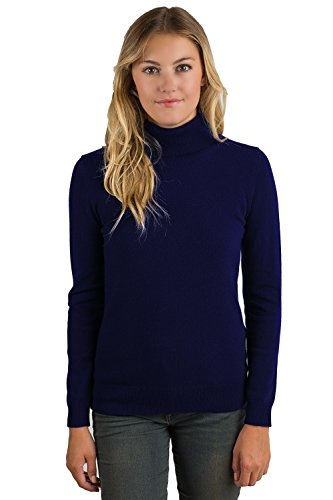 Grade Sleeve Womens Long (JENNIE LIU Women's 100% Pure Cashmere Long Sleeve Pullover Turtleneck Sweater (L, Midnight))