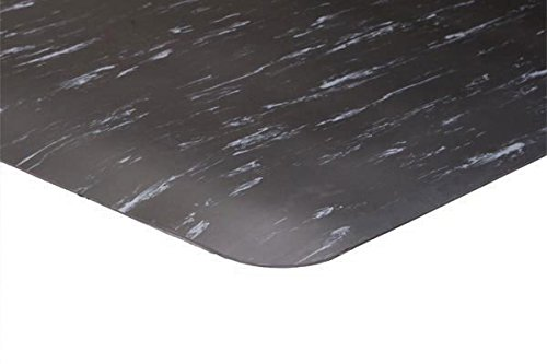 K-Marble Smooth Hard Top Anti-Fatigue Mat, 3' x 60', Black with White, 1/2