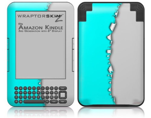 Ripped Colors Neon Teal Gray - Decal Style Skin fits Amazon Kindle 3 Keyboard (with 6 inch display) by WraptorSkinz