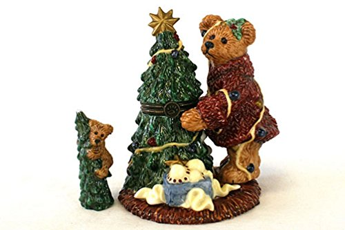 Boyds Bears Porcelain Bearware Le Bearmoge Christmas Tree Trinket Box