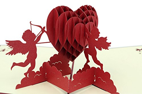 IShareCards Papercraft Handmade 3D Pop Up Greeting Cards for Valentines,Lovers,Couple's Happy Anniversary Gifts (Cupid's Heart) (Happy Valentine Cards)