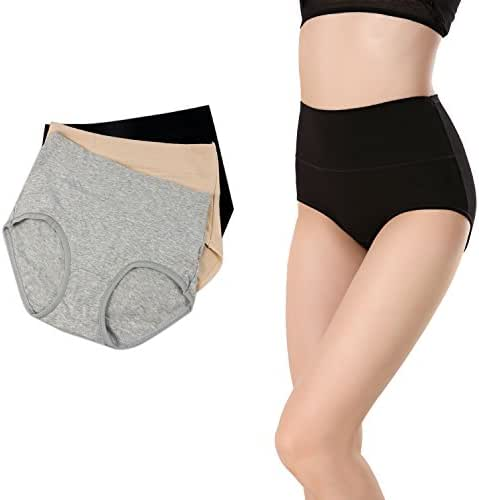 Women's High Waist Solid Color Tummy Control Cotton Briefs No Muffin Top Underwear Stretch Panties Underpants