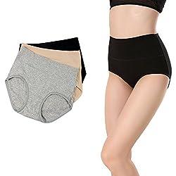 Women S High Waist Solid Color Tummy Control Cotton Briefs No Muffin Top Underwear Stretch Panties Underpants Xl 8 Waist 37 39 94cm 100cm Black Grey Beige 3pack