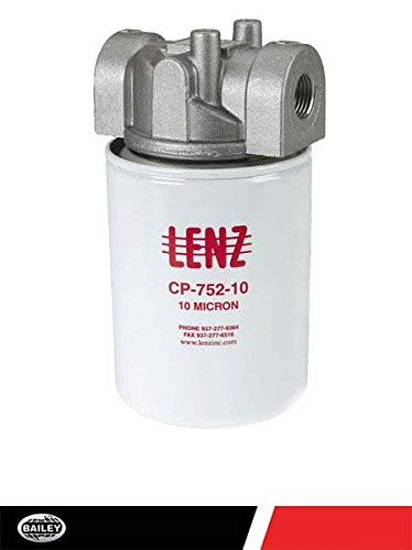 "LENZ Spin-On Filters Assembly CP-750-10P: 10 Filter Micron, 100 PSI, 20 GPM, 3/4"" NPTF Port, 15 PSI Bypass, No Indicator Ports, 221005"