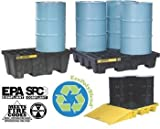 JUSTRITE MANUFACTURING 28636 Yellow Recycled Polyethylene EcoPolyBlend Spill Control Pallet with Drain Plug, 4 Drum Square, 73 gal Capacity, 49'' W x 10.25'' H x 49'' D