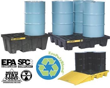 Spill Control (JUSTRITE MANUFACTURING 28634 Yellow Recycled Polyethylene EcoPolyBlend Spill Control Pallet, 4 Drum Square, 73 gal Capacity, 49