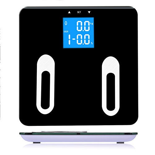 Body Fat Scale, Warmhoming Bathroom Digital Scale, Fat Loss Monitor Measure Weight, Body Fat, Water, Muscle, Bone Substance, BMI & Calorie (Black)
