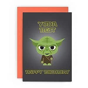 Tarjeta de felicitación de cumpleaños de Star Wars, con Yoda ...