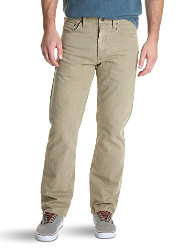 Wrangler Authentics Men's Classic 5-Pocket Relaxed Fit Cotton Jean, Khaki Flex, 36x30