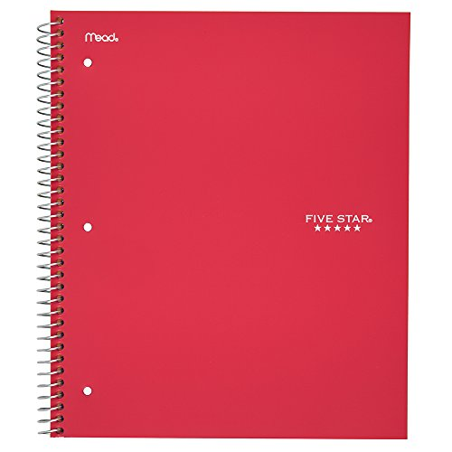 Five Star Spiral Notebook, 3 Subject, College Ruled Paper, 150 Sheets, 11'' x 8-1/2'', Red (72065) by Five Star