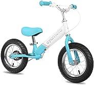 CYCMOTO 12 Inch Balance Bike with Handbrake & Air Tire (Blue & Green &Pi