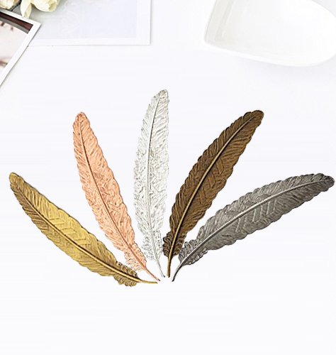 Metal Bookmarker (MorTime Feather Bookmarks, Feather Metal Bookmarks,Feather ornament , 5 Pcs)