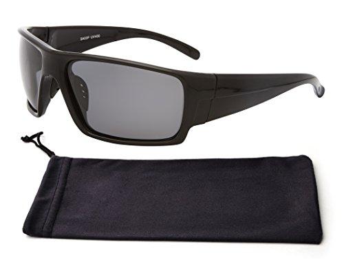 Special Black Large Chopper Frame Polarized Rectangular Anti Glare Lens Classic Wrap Around Designer Sunglasses Clearance Deal Gift Idea Under 20 Dollars Man Dad Him (Black Frame - Glasses Deals Designer