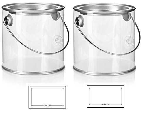 Cylinder Plastic Paint Can With Metal Tin Top and Handle Size 4 x 4, For Party Favors, Decorating, & Baby Shower or Wedding Shower Decor. (2 Pack) + -