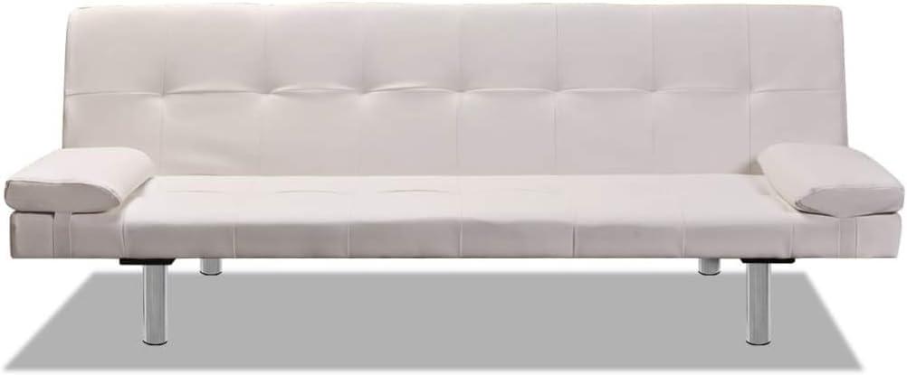 vidaXL Sofá Cama Reclinable con 2 Cojines Madera Cuero Sintético Blanco Crema
