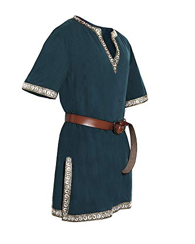 Medieval Tunics For Mens (Taoliyuan Mens Medieval Shirts Renaissance Pirate Vintage Viking Gothic Warrior Knight V Neck Tunic Costume)