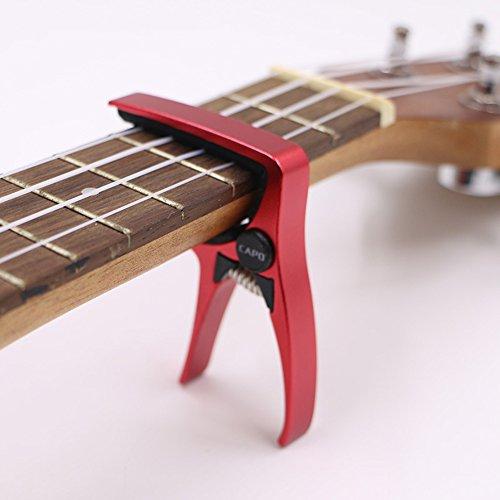 UKULELE CAPO,Quick Change 4 String for Soprano, Concert, Tenor - Ukulele Professional Capo Made of High-grade Lightweight Zinc alloy (red)