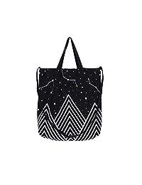 Caixia Mountain Star Print Canvas Tote Convertible Shoulder Bag Black