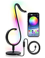 QJUZO Lampa stołowa RGB USB, metalowa lampka nocna z trybem sceny i trybem muzycznym, zdalne sterowanie i aplikacja symfonia zmieniająca kolor światło, przyciemniane lampy biurkowe LED do sypialni i salonu