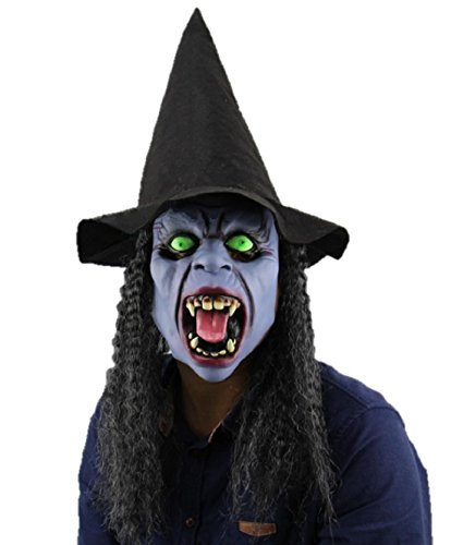 Old Man Costume Fx Face Kit (ShonanCos Scary Witch Mask With Black Hat and Hair Wig Fancy Dress Latex Costume)