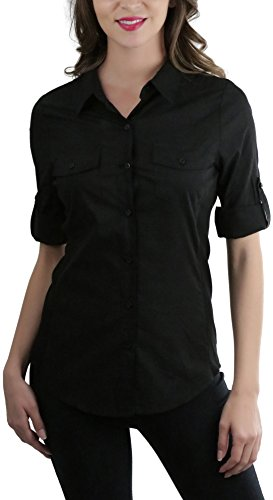 ToBeInStyle Women's Side Ribbed Tabbed S.S. Button-Down Shirt - Black - - Black Ss Shirts