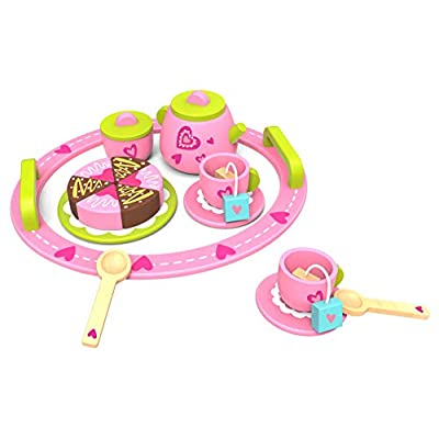 TOYSTER'S Wooden Afternoon Tea Party Play Kitchen Food and Pretend Cutting Food Set| Premium-Quality Children Wood Toys Playset for Kids | Learning Resources for Toddler Girls: Toys & Games