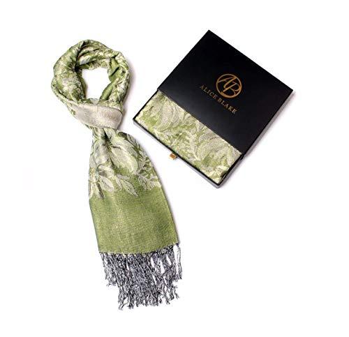 Alice Blake Premium Metallic Floral/Paisley Pashmina Scarf Shawl Wrap w/Gift Box ()