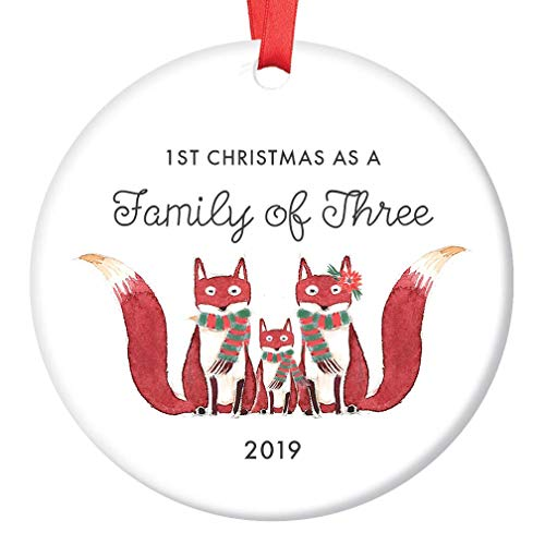 Porcelain Baby Shower - Family of Three Ornament 2019 First Christmas as a Family of 3, Fox Ornament Gift, Cute Foxes Mommy Daddy New Baby Shower Ceramic Present Keepsake 3