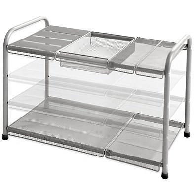 2-tier Mesh Expandable Under-sink Shelf- 11.37 D X 15.5 W (Expands to 27.5 W) X 15 H by .ORG by ORG