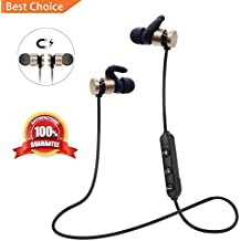 HD Stereo Bluetooth Earbuds Super Bass Headset; SquRod Metal Magnetic Wireless In-Ear Earphone IPX5 Waterproof Suitable for Outdoor Sports with Noise Cancelling w/Mic for Cell Phones(Gold)