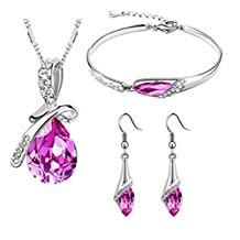 Shop Ginger Wedding Rhinestone Necklace Earrings Bracelet Set Bridal Bridesmaid Party Prom JS-01