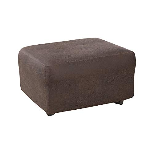 SureFit Ultimate Stretch Leather - Ottoman Slipcover - Weathered Saddle