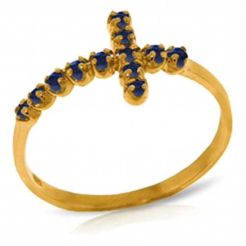 ALARRI 0.3 Carat 14K Solid Gold Cross Ring Natural Sapphire With Ring Size 10.5 by ALARRI
