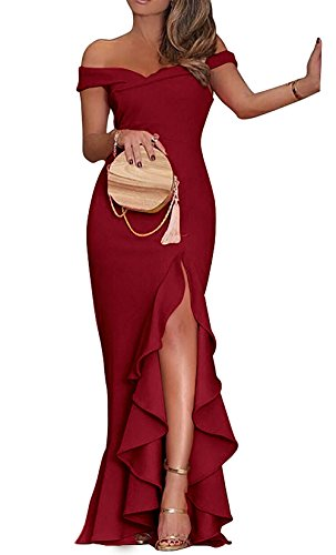 PRETTYGARDE Womens Off Shoulder Flouncing Mermaid Formal Prom Gowns High Low Party Dress -