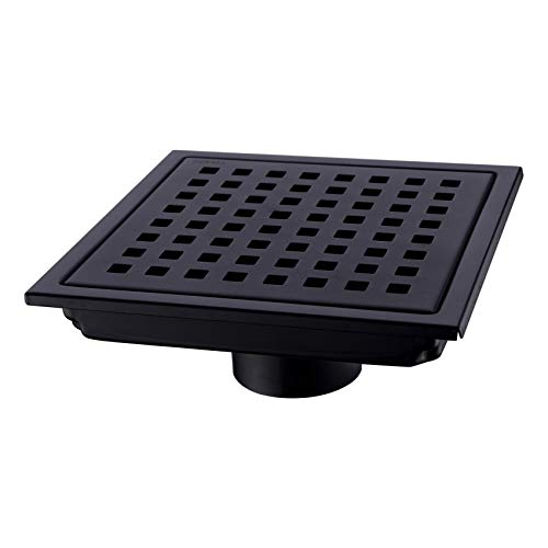 Orhemus Square Shower Floor Drain with Removable Cover Grid Grate 6 inch Long, SUS 304 Stainless Steel Black Plated Finish - Grid Shower Drain Cover