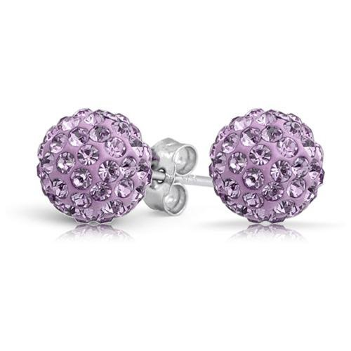 10mm STUD Silver Shamballa Crystal Earrings - Silver, AB White, Pink, Purple, Black, Blue, Grey, Many More Colours (SIlver)
