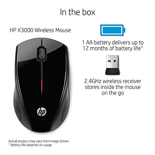 HP x3000 Wireless Mouse, Black (H2C22AA#ABL) - Import It All