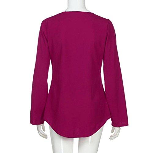Chemisier Fermeture Vif Longues Blouse Unie Couleur CIELLTE Femme T Outwear Tops Casual Shirts Rose Eclair Manches Automne Printemps Sleeve lgant Hr1wHPxq