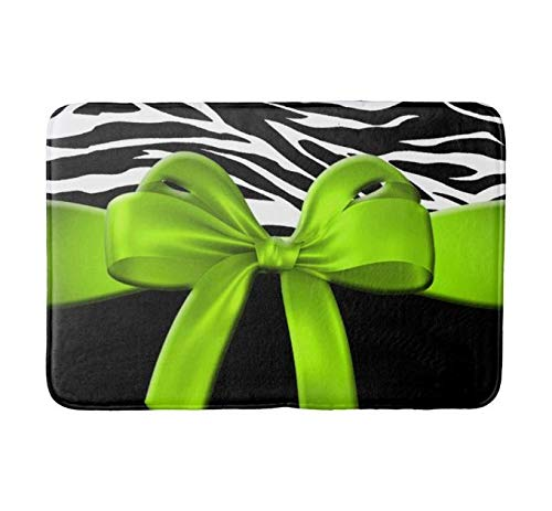 Lovesup Bath Mat Super Cozy Absorbent Bathroom Rug Plush Bathroom Decor Mat with Non Slip Backing Indoor Rugs Zebra Print Ribbon Bow Lime Green Bath Mat Size:(24