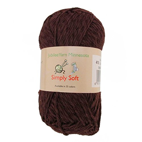 (Light Weight Simply Soft Yarn 100g - 2 Skeins - 50% Cotton 50% Polyestser - Plumwine - Color 410)