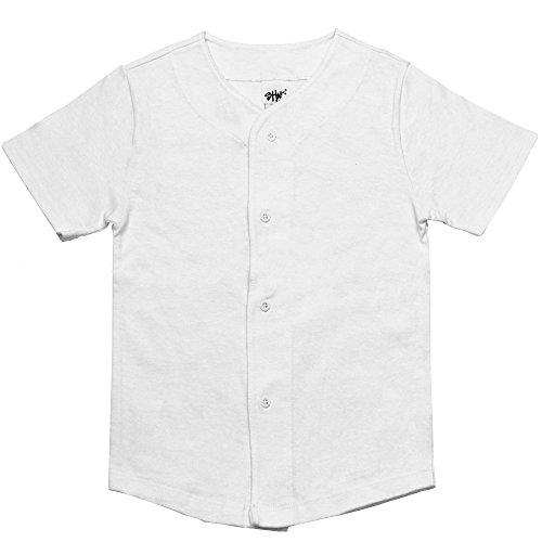 Kids Baseball Button Down Jersey Uniform Plain Xxs-xl (XXS, White)